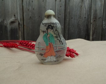 Antique Chinese Reverse Hand Painted Glass Snuff Bottle Vintage Chinese interior painted glass inside painting glass bottle Collectibles