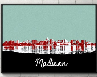 Madison Skyline Poster Madison Wisconsin Print Wall art wall decor dorm decor fan dad husband gift Wisconsin Badgers home decor poster