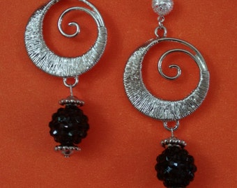 Silver and Black Crystals Earrings