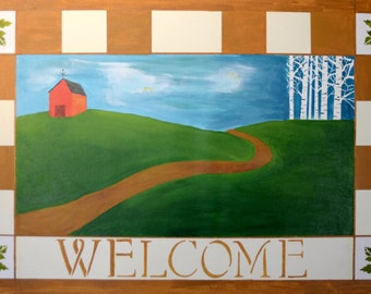 Welcome canvas floorcloth