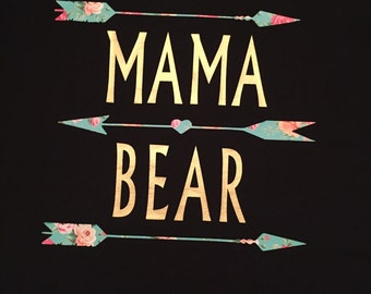 Mama Bear Gold Floral Tee with Arrows