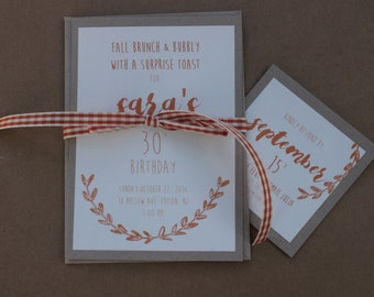 Fall Brunch Birthday Invitation | Rustic Fall Invite