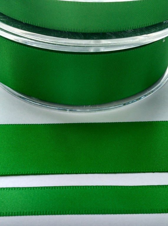 Emerald green double satin ribbon 25mm 2m 5m lengths for Emerald satin paint