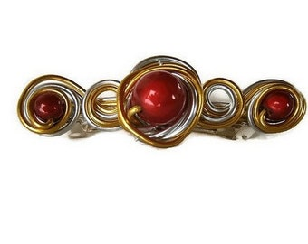 Barrette handmade wire aluminum and pearls - gold silver red - hair - barrette hair clip.