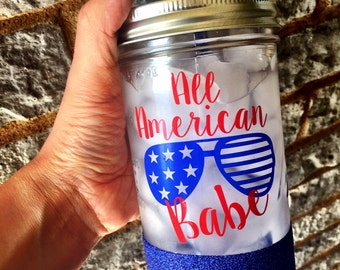 Fourth of July Cup, Fourth of July decorations, All American Babe, 4th of July Cup, 'Merica, 'Murica, Glitter Mason Jar, BBQ cup, Babe