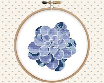Succulent cross stitch pattern  - cross stitch PDF - instant download - cactus cross stitch - pillow embroidered