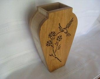 Wood Humming Bird Vase