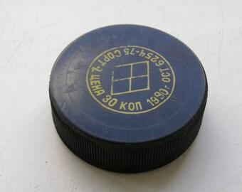 Soviet hockey puck.  USSR hockey puck. puck. hockey