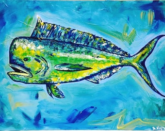 "Fish painting fish print 8""x10"" Mahi Mahi Print , Original Painting Acrylic on Canvas"