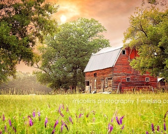 Rural Rustic Country Red Barn Hazy Sun