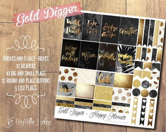 GOLD DIGGER - Happy Planner Printable Planner Stickers Sheet