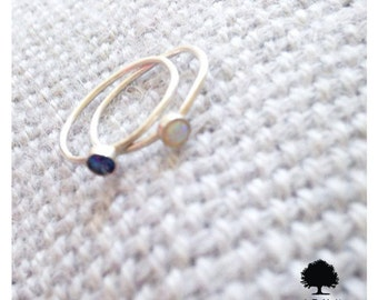 Dainty Sterling Silver Opal & Blue Sapphire Rings-[made-to-order]-Low cost Shipping