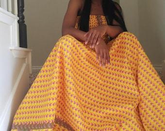 African print dress, Ankara dress, african fabric strapless dress, summer dress, african flowing dress, african summer dress, Yellow dress