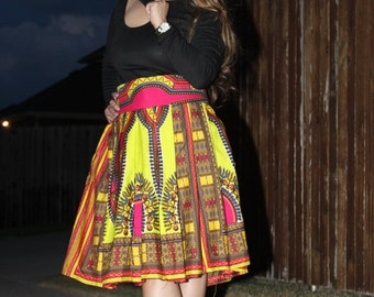 Dashiki African print midi skirt, African skirt, Midi skirt, Dashiki Midi skirt,  African clothing,  ankara short skirt, Women fashion