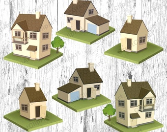 6 Houses Clipart Set House Country Villa Estate
