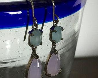 Light Blue & Periwinkle Purple Dangle Earrings