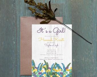 Customizable Baby Shower Invitation: Purple Floral Mix on Whitewashed wood background. Digital File