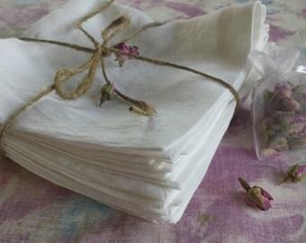 White Linen Napkins set of 6 pieces