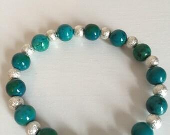 Chrysocolla and Stardust Bead Bracelet