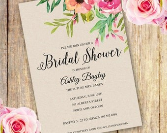 BRIDAL SHOWER Invitation, Instant Download, Watercolor Floral Bridal Shower Invitation, Watercolor flowers, Edit yourself with Adobe Reader