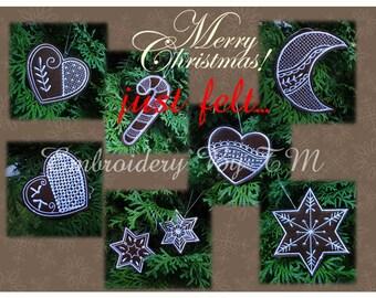 felt no lace!!!Christmas decorations (8+1 free christmas ornament)-