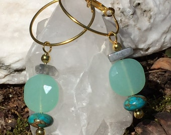 Faceted Chalcedony & Mosaic Turquoise Earrings