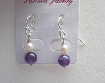 Fresh Water Pearl with Amethyst Stones on Silver Earrings