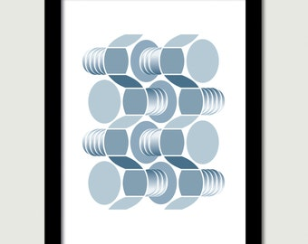 Nuts and Bolts. Original optical illusion wall art. The humble nut and bolt is given a new perspective inspired by Escher.