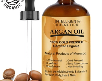 ARGAN OIL 100% Cold Pressed Pure Certified Organic Moroccan Argan Oil 100ml for Face, Hands, Nails, Hair & Feet