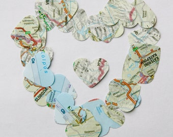 Map heart confetti, weddings, goodbye party, table decoration