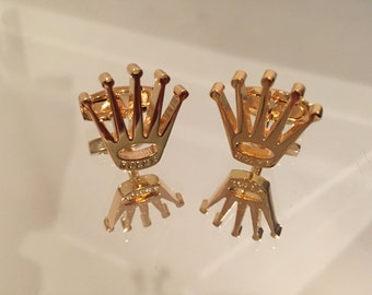 Crown Design Stainless Steel Cufflinks New With Box. [Gold]