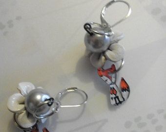 Earrings flowers and foxes Scandinavian style
