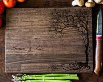 Custom Cutting Board, Personalized Cutting Board, Monogram, Tree Wedding Gift, Anniversary, Bridal Shower Gift, Kitchen Decor #3071
