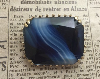 A Large Cobalt Blue Stone Vintage Brooch