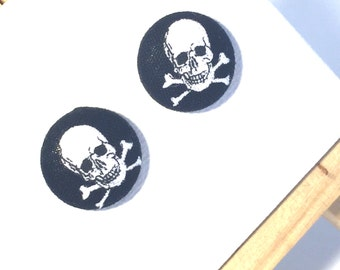 Halloween Earrings, Pirate Earrings, Jolly Rodger, Skull and Crossbone Earrings, Pirate Costume