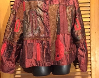 Burgundy and Red silk Chico's Jacket