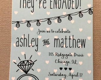 Engagement invitation mint hearts light strand