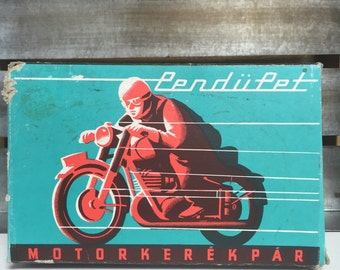 Vintage tin toy motorcycle bike perfect condition and boxed
