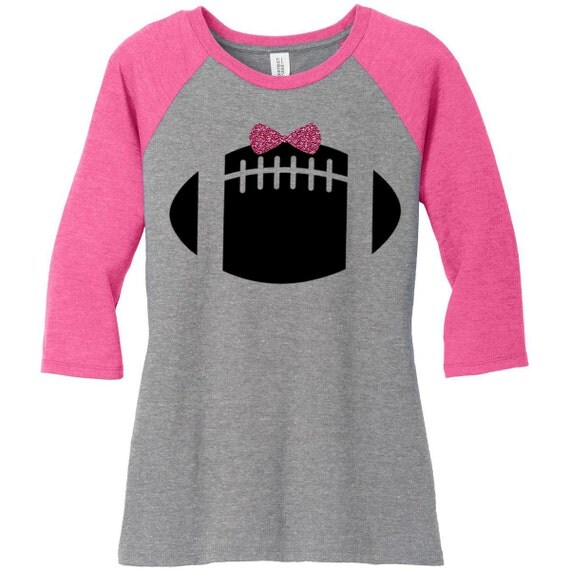 Football With Glitter Bow, Sports,  Raglan 2 Tone 3/4 Sleeve Womens Tops in Sizes Small-4X