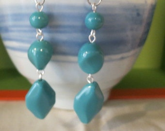 FREE SHIPPING  Handcrafted Many Sides Dangle Earrings Turquoise Color  Artisan