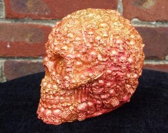 Hand Painted Skulls on Skull Pink and Gold Metalic skull