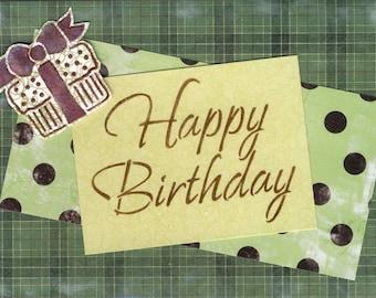 Handmade Birthday Card - Presents and Plaid