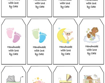 Baby Gift Tags Double Sided Small - PDF FILE ONLY