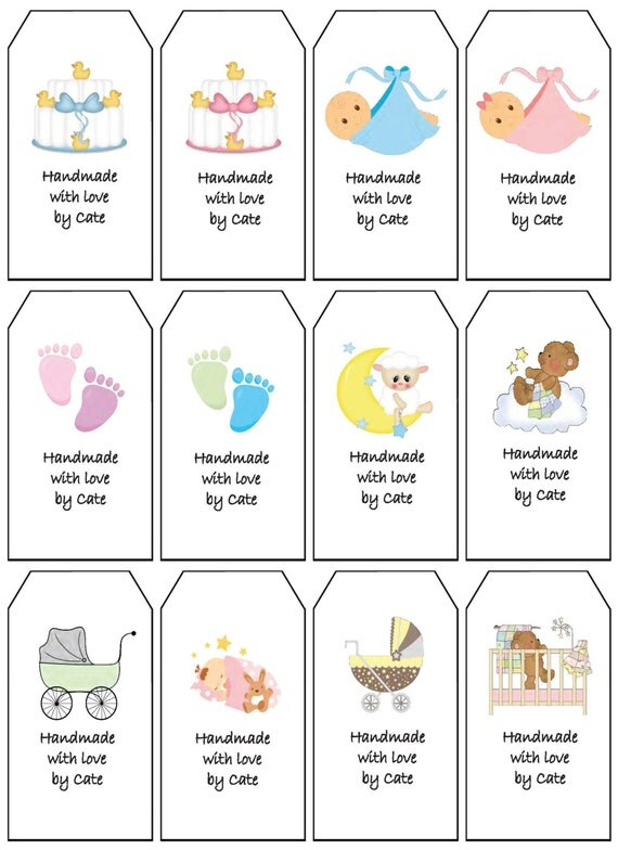 Etsy Australia Baby Gifts : Items similar to baby gift tags double sided small pdf