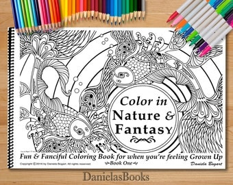 advanced coloring books for adults by danielasbooks nature fantasy animals and mythical creatures - Advanced Coloring Books For Adults