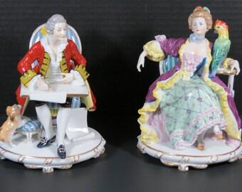 Antique Rudolstadt Ernst Bohne Sohne Pair of Figurines from Saxony, Germany