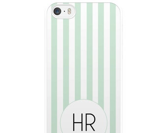 Green and White Striped iPhone Case, Personalised iPhone Case, Custom iPhone Case, iPhone 5, iPhone 5s, iPhone 6, iPhone 6s, Gift
