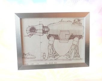 Star Wars Framed Blueprint , Home Decor, Wall Art - AT AT