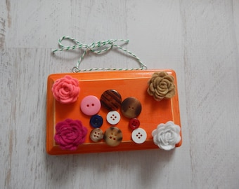 """Haven's Button Art...3""""x5"""" Wood Plaque...Ready To Ship...flowers"""