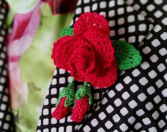 Collar brooch, rose flower brooch, crochet rose